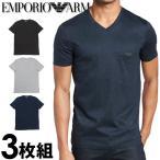 エンポリオアルマーニ メンズ Vネック 半袖 Tシャツ 3枚セット ブラック ネイビー グレー EMPORIO ARMANI 110856cc72294235