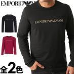 エンポリオアルマーニ メンズ クルーネック 長袖 Tシャツ ブラック パープル EMPORIO ARMANI 1116530a595