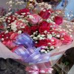 好評☆鮮やかなピンク色のバラの花束!送料無料☆かすみ草と一緒に・・☆