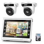 防犯カメラ BNT 200万画素カメラ×2台 4chチューナーセット  モニター付き(HDD1TB内蔵) セキュリティカメラ 室内 室外 ドーム型