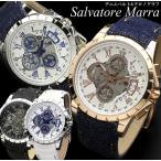 Salvatore Marra サルバトーレマーラ 腕時計 スケルトン クロノグラフ メンズ ステンレス レザー×デニム ミネラルクリスタルガラス 10気圧防水  SM13119D