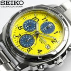 SEIKOセイコー 逆輸入 クロノグラフ メンズ 腕時計 1/20秒高速測定モデル SND409 ベ...