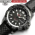 ショッピング自動巻き セイコー5 スポーツ SEIKO5 GMT 自動巻き 腕時計 メンズ 限定モデル カーボン 100M防水 レザー 革ベルト SRP723K1