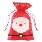 人気No,1クリスマスラッピング用紐を引っ張るだけで簡単ギフト紐付きギフトバッグ【M】両面デザイン:サンタ&スノーマン【メール便可】【返品・キャンセル不可