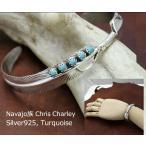 インディアン ジュエリー バングル ネイティブ アメリカン NAVAJO ナバホ族 Chris Charley ターコイズ シルバーフェザー ブレスレット
