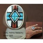 インディアン ジュエリー 指輪 ネイティブ アメリカン ZUNI ズニ族 Yelmo Natachu ターコイズ インレイ リング 26号