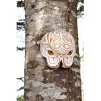 ネイティブアート カービング 木彫刻 / マスク  「白フクロウ」
