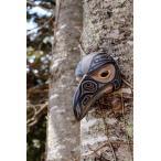 ネイティブアート カービング 木彫刻 / マスク  「ワタリガラスの少年」
