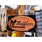 ハーレーダビッドソン マフラーのエンボス・ティンサイン アメリカ雑貨 アメリカン雑貨 ガレージグッズ 人気 おしゃれ 鉄馬 通販