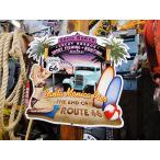 ルート66&ピンナップガール(サンタモニカ)のU.S.ヘヴィースチールサイン アメリカ雑貨 アメリカン雑貨 サインプレート ティンサインボード