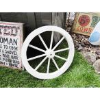 アンティーク木製車輪(ホワイト/Sサイズ) アメリカン雑貨 アメリカ雑貨