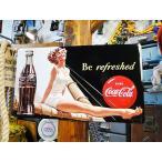 コカ・コーラブランド リフィレッシュド・ビューティーのエンボス・ティンサイン アメリカ雑貨 アメリカン雑貨 サインプレート ティンサインボード