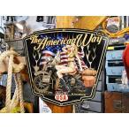 ミリタリーハーレー&ピンナップガールのU.S.ヘヴィースチールサイン(シールドシェイプカット) アメリカ雑貨 アメリカン雑貨