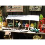 ジャンクガレージ風の4ボックスルーフ ■ アメリカン雑貨 アメリカ雑貨 コレクションケース ディスプレイケース 木製 インダストリアル 男前インテリア雑貨