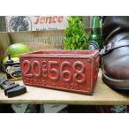ナンバープレートのプランター(Lサイズ/レッド) アメリカン雑貨