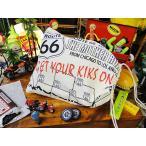 ルート66のキンチャク袋 Lサイズ アメリカ雑貨 アメリカン雑貨 旗 インテリア 小物 壁飾り おしゃれ 人気