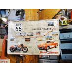 世界のオートバイの3Dメタルサイン(ルート66マップ) アメリカン雑貨