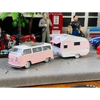 限定モデル ピンクワーゲンバス&キャンピングトレーラーのミニカーセット 2898台限定モデル(ピンク) ■ アメリカン雑貨 アメリカ雑貨