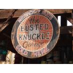 バステッドナックルガレージのホイール型木製看板  アメリカ雑貨 アメリカン雑貨