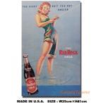 アメリカンブリキ看板 レッドロックコーラ -フィッシングガール- アメリカ雑貨 アメリカン雑貨 サインプレート ティンサインボード
