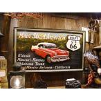 ルート66&シボレーベルエアーの木製看板 アメリカ雑貨 アメリカン雑貨 壁掛け インテリア おしゃれな部屋 人気