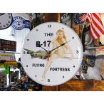 ピンナップガールクロック(B-17 フライングフォートレス) アメリカ雑貨 アメリカン雑貨 壁掛け時計