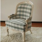 CA-0005-W-GP-1P チェック ロココ調 ソファ 1P 一人掛け 椅子 送料無料 アンティーク 布製 猫脚 猫足 カントリー