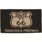 玄関マット コイヤーマット ルート66 ブラック Route 66 長方形 ウェルカムマット 北欧 おしゃれ 屋外 屋外用 天然素材 風水 エントランスマット