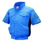 NSP 空調服 半袖 服単体 ND-111 ブルー/チャコール チタンコーティング 立ち襟 肩補強あり サイズL 8209503