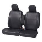 【汚れ防止/車内のドレスアップに】 軽自動車 ベンチシート前席用 フリーサイズ グランドレザーシートカバー ブラック/黒色
