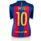 リオネル・メッシ 直筆サイン入りユニフォーム 2016-17 FC バルセロナ バックサイン (Lionel Messi Official Back Signed Barcelona 2016-17 Home Shirt)