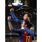 リオネル・メッシ 直筆サインフォト FC バルセロナ セレブレーション ネイマール (Lionel Messi Signed Barcelona Photo: Celebration with Neymar Jr vs PSG