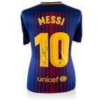 リオネル・メッシ 直筆サイン入りユニフォーム 2017-18 FC バルセロナ バックサイン (Lionel Messi Official Back Signed Barcelona 2017-18 Home Shirt)