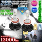 シエンタ/iQ/RAVE4 H8/H9/H11/H16 X3 PHILIPS 12000ルーメンLEDヘッドライト&フォグランプキット50W/6500K車検対応2個セット/1年保証