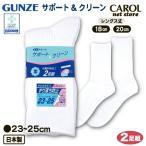 Regular Socks - 【グンゼ】 サポート&クリーン スクールソックス 23~25cm(ちょっと大きめ)婦人用 <2足組>日本製【メール便対応】