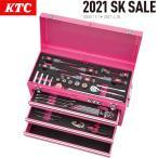 KTC チェストタイプ 工具セット ラチェットコンビネーションレンチ採用 3段3引出し 51点 ピンク SK35121XP