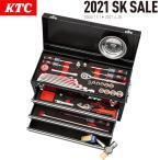 KTC チェストタイプ 工具セット ラチェットコンビネーションレンチ採用 3段3引出し 60点 ブラック SK46021XBK