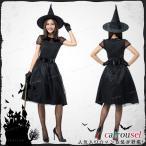 ショッピングハロウィン ハロウィン 魔女 4点セット 女王様 巫女 パープル 帽子付き ブラック ワンピース 悪魔 デビル 女性 大人用 セクシー 大きいサイズ