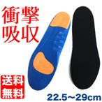 22.5〜29cm対応 サイズ調整 衝撃 吸収 インソール 衝撃吸収 中敷き クッション 靴 メンズ レディース スニーカー ブルー 日本郵便送料無料 PK2