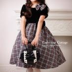 子供 ドレス 結婚式 発表会 キッズ タータンチェックと黒ベロアの半袖ドレス フォーマル 3つのリボン付属