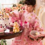 七五三 着物セット 羽衣付き着物ドレス ローズ柄 ピンク 女の子 キッズ