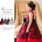 子供ドレス 女の子 キッズ 子ども フォーマル ローズ刺繍チュールドレス 子供服  120 130 140 150 cm