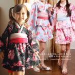 子供ベビー甚平  浴衣ドレス風甚平+プチ兵児帯セット 女の子