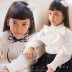 女の子ブラウス 子ども 2WAYリボン付きピンタックフリルブラウス オフホワイト 100-160cm