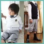 子どもスーツ 男の子 フォーマル ボーイズニットベストスーツ4点セット 95-130cm
