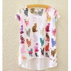 ショッピングおしゃれ 【送料無料】猫 Tシャツ 猫柄 猫のデザイン レディース おしゃれ かわいい 大人 丸首 半袖 白 ユニーク 猫雑貨 猫グッズ ファッション