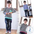 韓国子供服 男の子 女の子 子供服 カラフル×モノトーンボーダー ロングTシャツ ポケット付き 長袖 ロングティーシャツ[2]