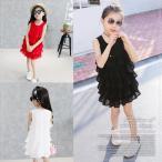 韓国子供服 プリーツフリル ノースリーブ ワンピース 子供服 キッズ ジュニア フリル 女の子 子供 2