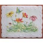 廃盤レア品 Made in USA キャロルウィルソン グリーティングカード 花と蝶 NP2115 カード・封筒 1セット