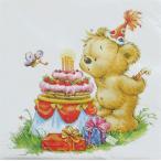 Daisy ポーランド ペーパーナプキン テディのお誕生日 Geburtstags Teddy バラ売り2枚1セット SDOG-009501 デコパージュ デコパージュ ドリパージュ